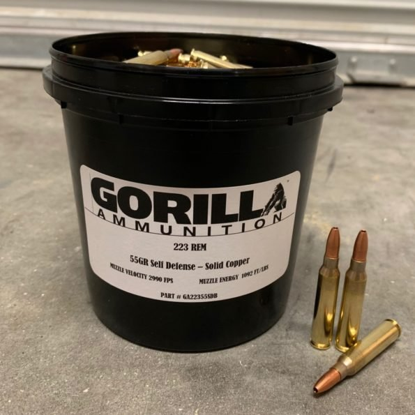 Gorilla Ammunition .223 REM 55gr Self Defense – 150 Round Bucket