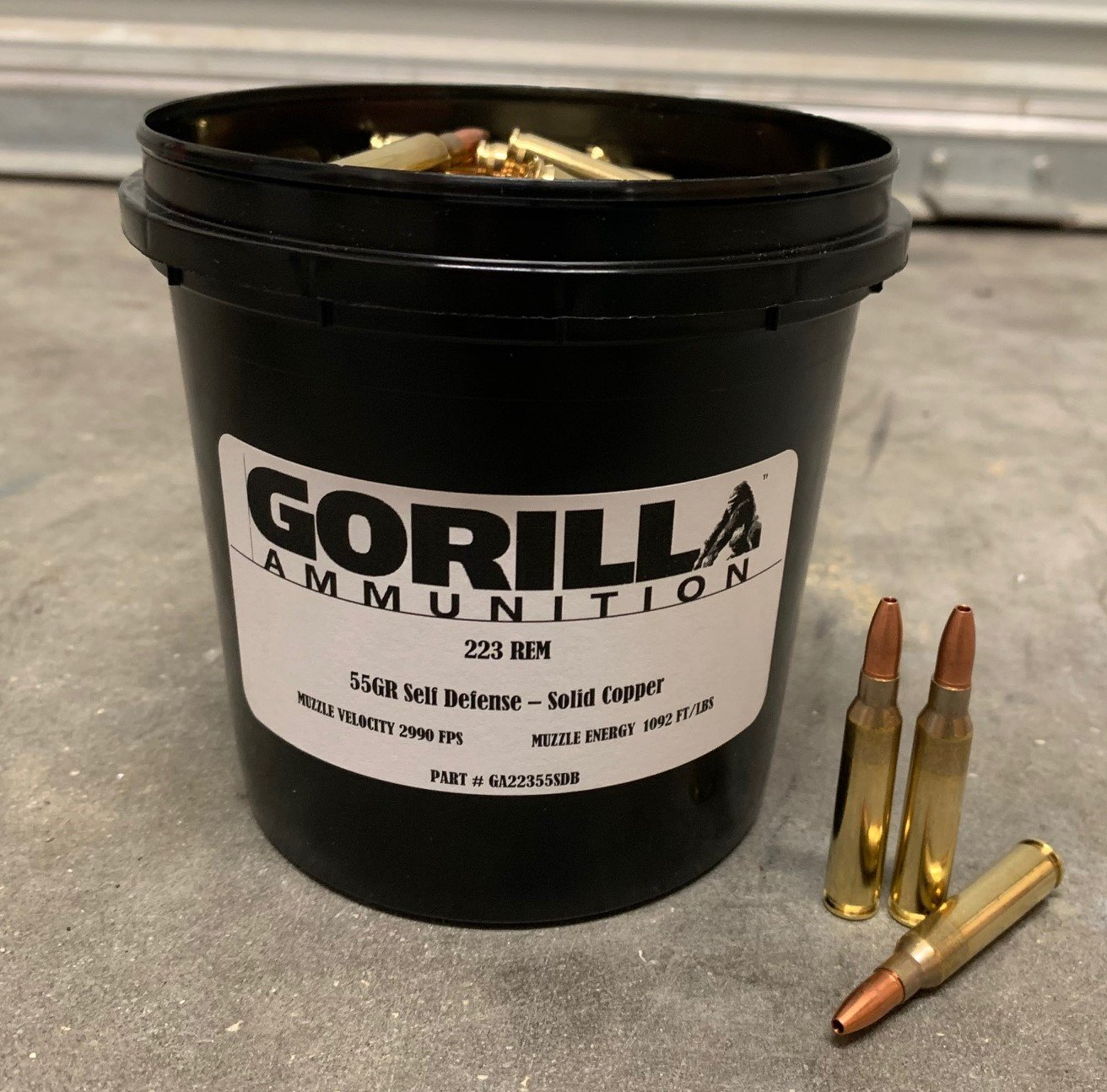 In Stock: 223 REM 55gr Self Defense 150 round bucket